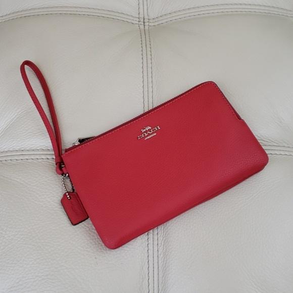 Coach Handbags - Coach Double Zip Pebble Leather Wristlet Wallet